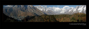 Panorama of Nepalese Himalaya with Everest from Namche Bazaar